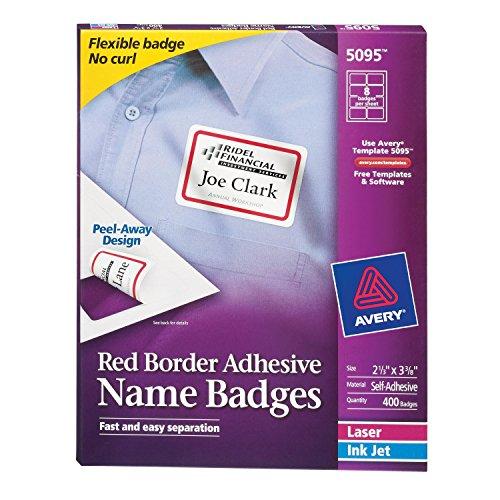 Avery White Adhesive Badges Border
