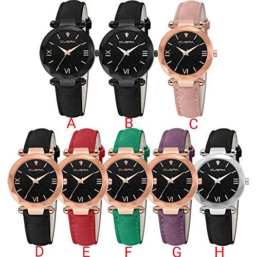 b4d6166d4fb0 SFE Fashion Women 's Leather Band CUENA Analog Quartz Diamond Wrist Watch  Watches