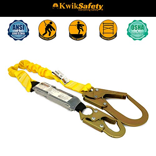 KwikSafety (Charlotte, NC) BOA (2 PACK) Single Leg 6ft Tubular Stretch Safety Lanyard | OSHA ANSI Fall Protection | EXTERNAL Shock Absorber | Construction Arborist Roofing | Snap Rebar Hook Connectors by KwikSafety (Image #2)