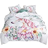 ADASMILE A & S Unicorn Bedding 2 Piece Flower Girl Bedding Set Cartoon Unicorn Pink White Bedspreads Cute Duvet Covers for Teens, Twin Size