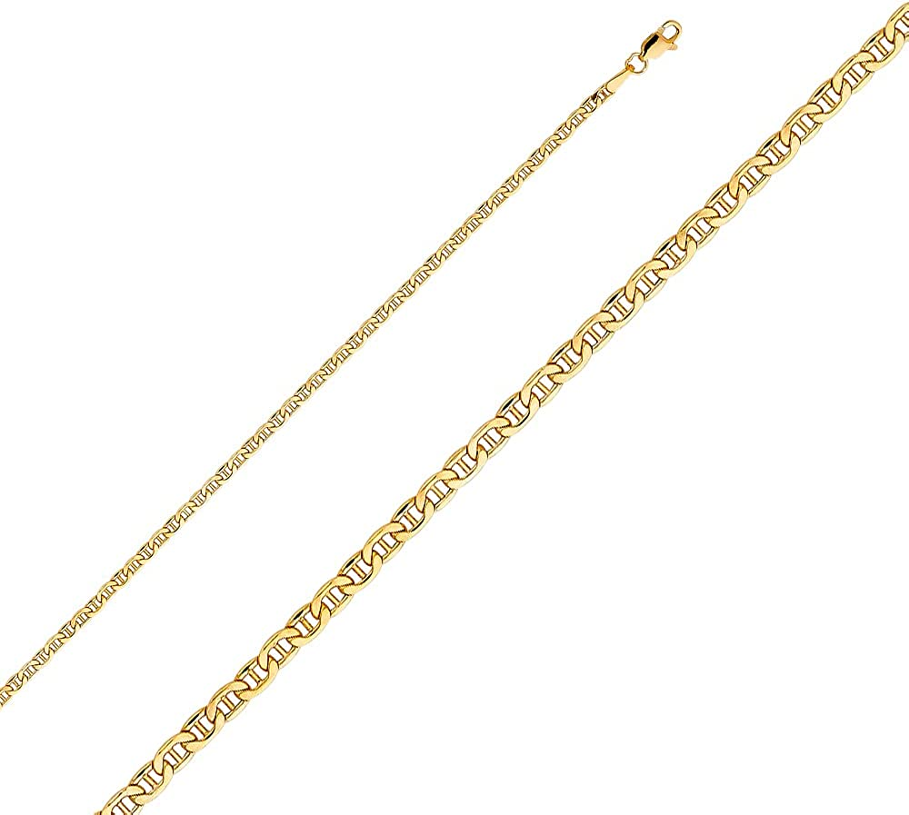 FB Jewels 14K Yellow Gold Hollow Mariner Bevel Chain Necklace With Lobster Claw Clasp