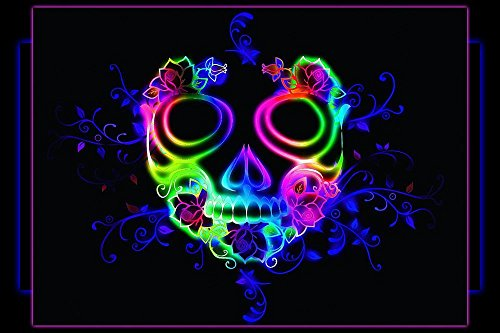 Gifts Delight Laminated 36x24 inches Poster: Wallpaper Skull Design Decoration Dead Death Halloween Horror Gothic Head Spooky Glow Neon Desktop Background ()