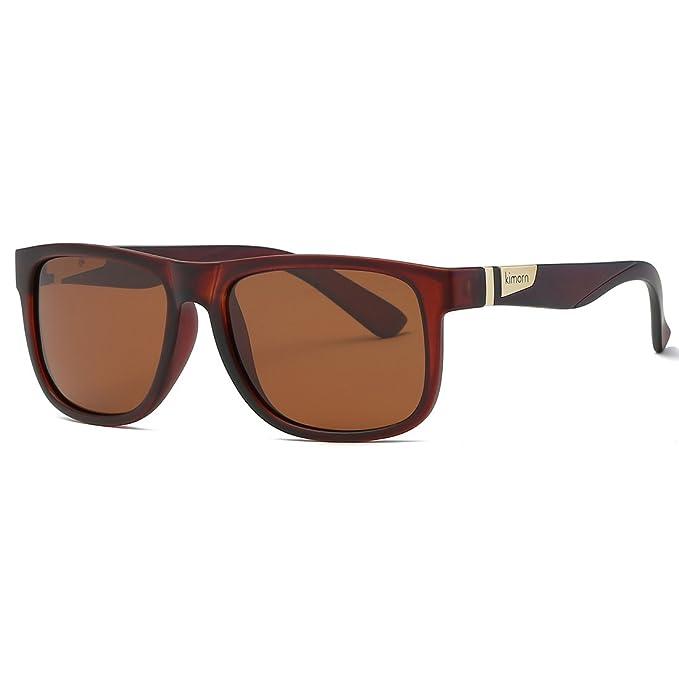 Kimorn Polarizado Gafas De Sol Hombres Forma Cuadrada Retro Unisexo Anteojos K0585 Bxhzd