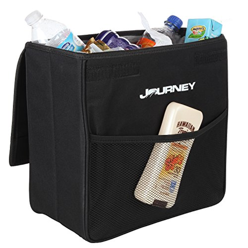 Inside Door Pocket Liner - Car Garbage Can with Lid: Large Black Leakproof Weighted - Car Trash Can Keeps Vehicle Clutter Free