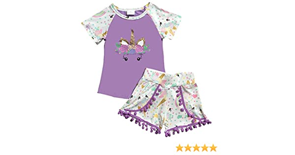Aki/_Dress Unicorn Tee Pompom Shorts Set 2 Pieces Combo Pajama 2t-8