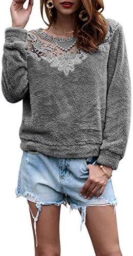 LilyAngel レディースレースのかぎ針編みステッチロングスリーブソリッドカラープルオーバーぬいぐるみのトレーナー (Color : Grey, サイズ : L)