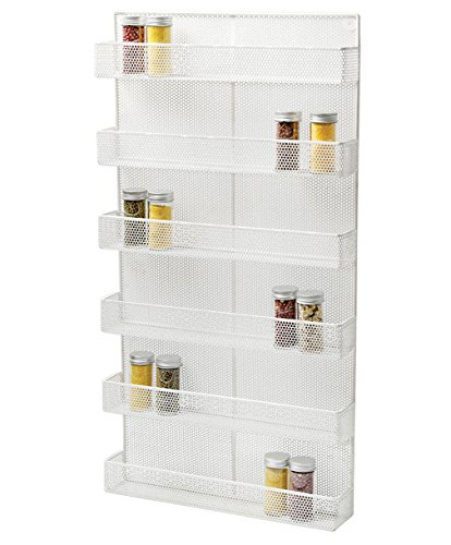 ESYLIFE 6 Tier Wall Mounted Spice Rack Organizer Kitchen Spice Storage Shelf - Made of Sturdy Punching Net, White by Esy-Life