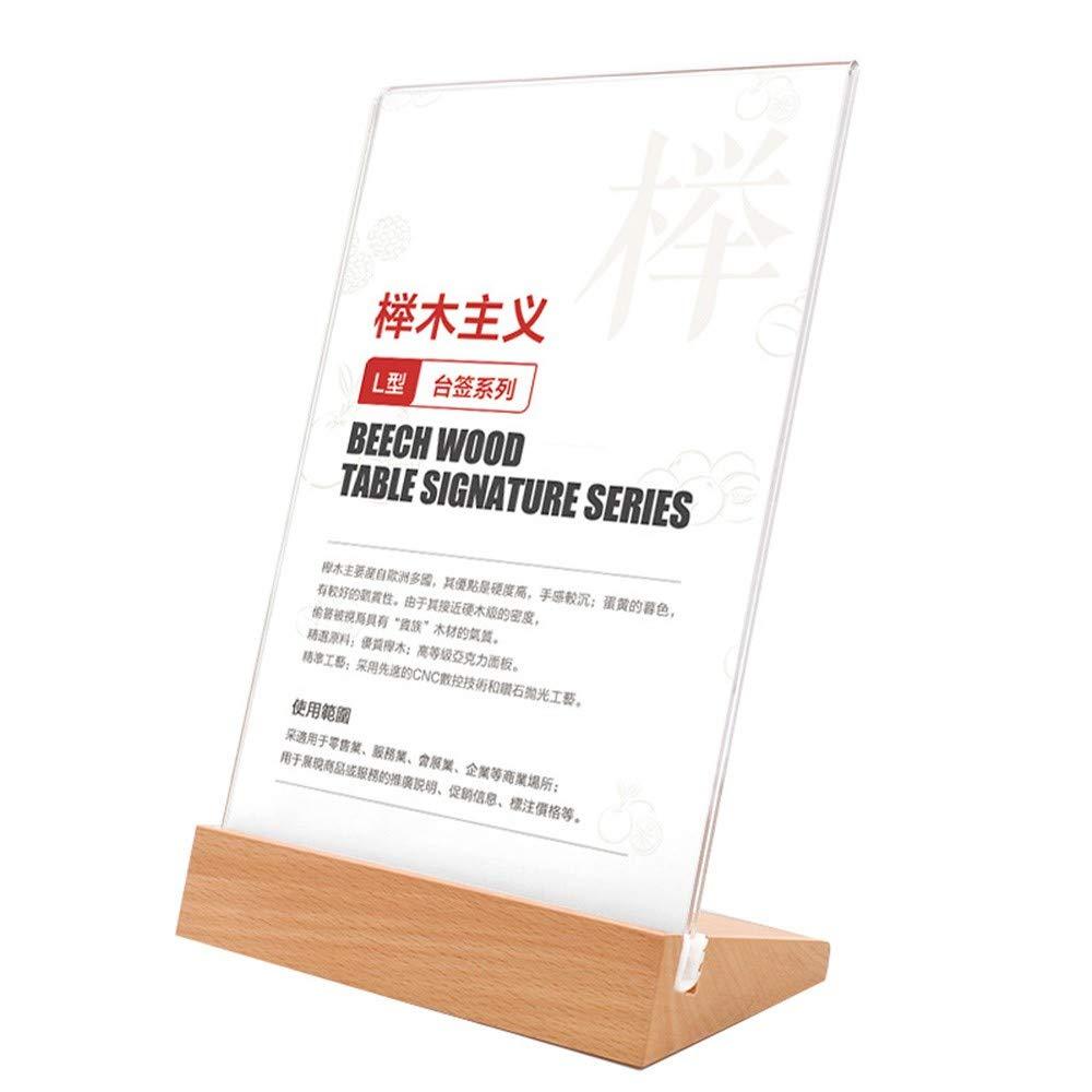 H/·Aimee Porta-Brochure da Banco Plexiglas A4//5//6 Porta-Avvisi da Tavolo L//T Plexiglas Trasparente Porta Menu da Tavolo per Menu Supporti Foto e Segnaposto