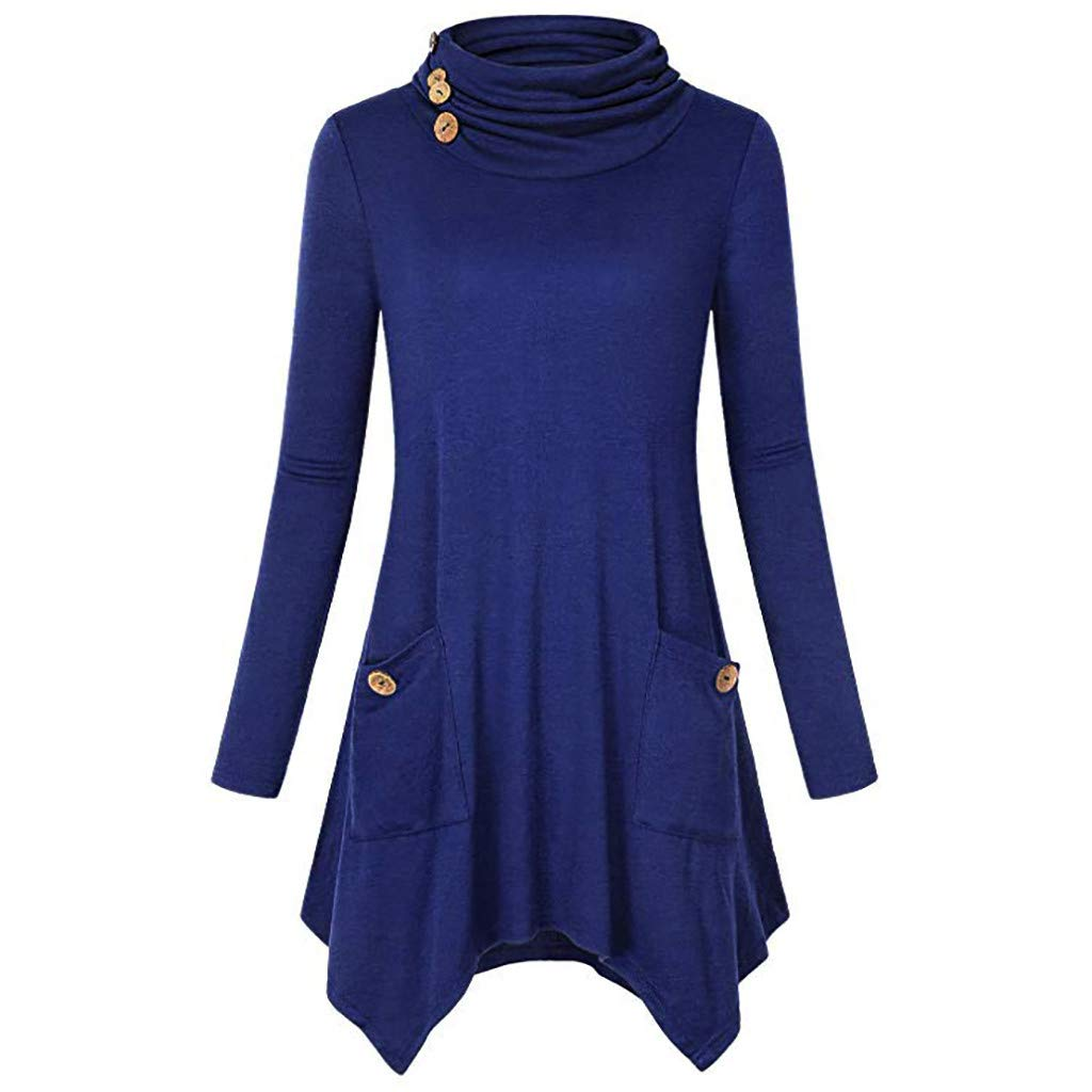 Lelili Women Cowl Neck Buttons Loose Tops Solid Color Long Sleeve Ruffle Hem Pullover Blouse with Pockets