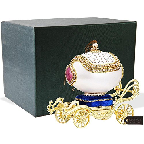 Matashi Faberge Easter Egg Trinket Box | Elegant Table Top Ornament w/Brilliant Crystals | Home, Living Room, Bedroom Décor (Carriage, Fur Elise)