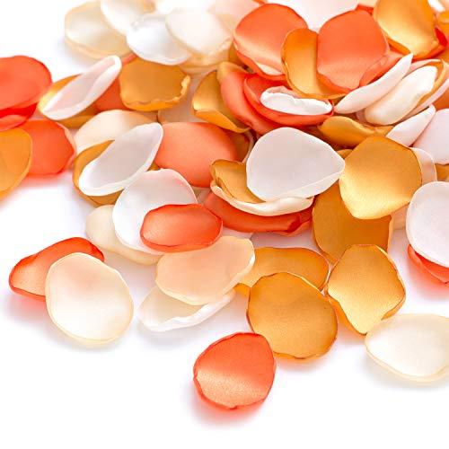 Ling's moment Silk Rose Petals Orange 200PCS Flower Girl Scatter Petals for Wedding Aisle Centerpieces Table Confetti Party Favors Thanksgiving Decoration (Flower Basket Orange)