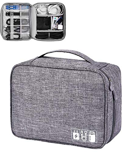 EAYIRA Gedget Organiser Electronics Accessories Organizer Bag, Universal Carry Travel Gadget Bag for Cables, Plug and More, Perfect Size Fits for Pad Phone Charger Hard Disk (Grey)