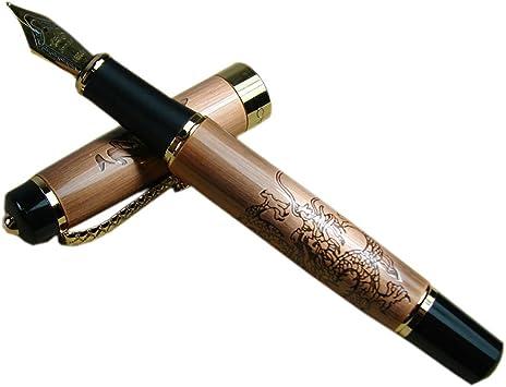 JINHAO Golden Relievo CHUAN REN Fountain Pen M Nib Brand New