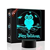 Owl 3D Xmas Decoration Illusion Night Lamp Beside Table Lamp, Gawell 7 Color Changing Touch Switch Halloween Gift Lamps with Acrylic Flat & ABS Base & USB Cable Sport Animal Lover Theme Toy