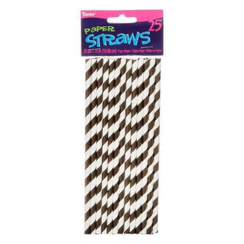 Bulk Buy: Darice DIY Crafts Paper Straws Black Stripe 7.75 inches 25 pieces (3-Pack) 1158-81 by Darice