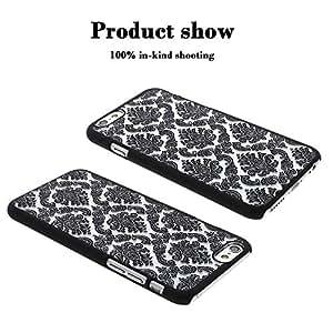 VANKER clásico floral Palacio de estilo en duro PC Protector Funda Carcasa de teléfono para iphone 6/6S 4.7(negro)