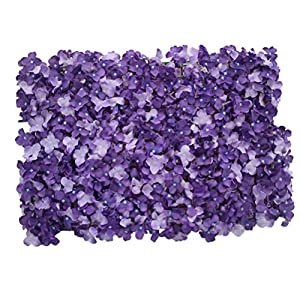Healifty Wedding Flower Wall Panel Artificial Silk Rose Flower Wall Background Decoration for Wedding Venue Party Decor 40x60cm (Purple Hydrangea) 1