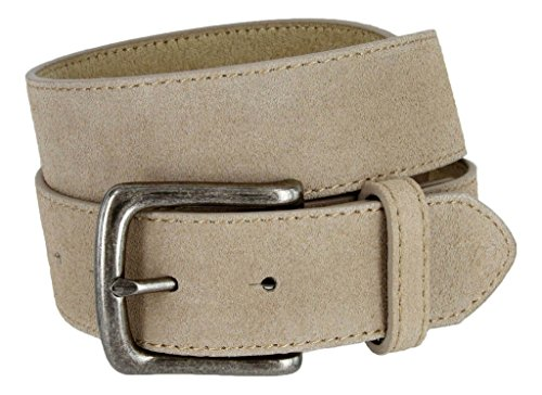 Casual Jean Suede Leather Belt for Men (Tan, 34)