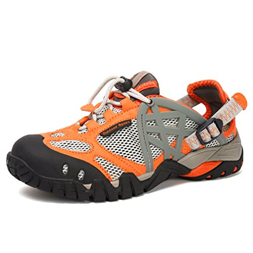 Closed Hiking Walking Sandals Orange Breathable Ymombest Toe Shoes Sport Amphibious Athletic xUF7Cpq