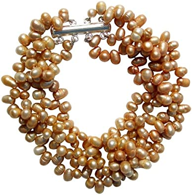 Pulsera de cuatro vueltas con perlas arroz doradas cultivadas de agua dulce con broche en plata
