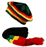 Rasta 2 in1 Scarf and Crochet Knit Tam Beret Hat Reggae Bob Marley Black Red Yellow Green