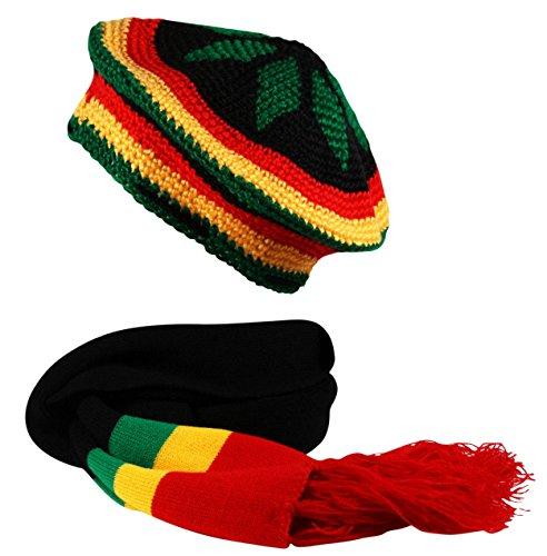 Rasta 2 in1 Scarf and Crochet Knit Tam Beret Hat Reggae Bob Marley Black Red Yellow (Rasta Beret)