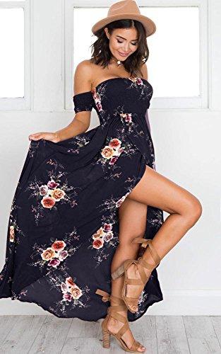 Dress Off Floral Navy Maxi The Women Summer Blue Beach Shoulder Split for Dresses XqqvHxRT