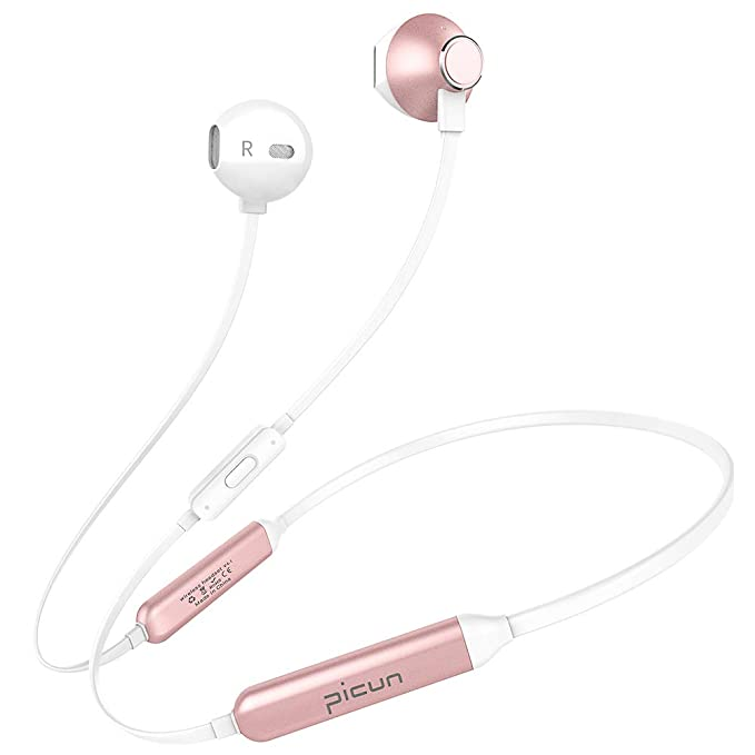 Picun Bluetooth Headphones V4.1 CSR 10 Hrs Playtime Wireless Headphones Neckband Headset with HD Mic, IPX6 Waterproof Magnetic Earbuds 13 MM Driver Secure Fit for Running Gym Sport Workout (Rose Gold)