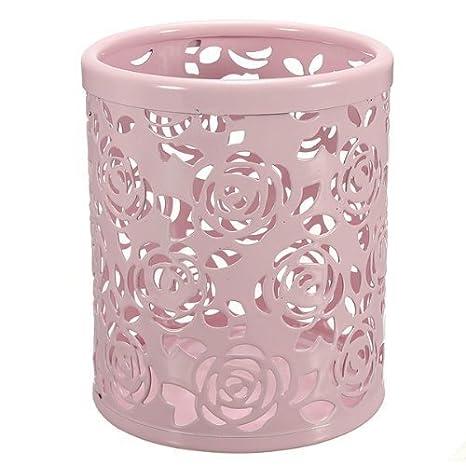 Leisial - Portalápices de metal con diseño floral, color Rosa ...