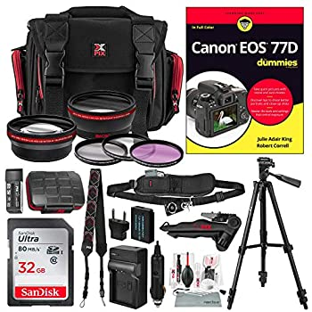 Image of Accessory Bundles Canon EOS 77D for Dummies + Deluxe Accessory Bundle with Xpix Tripods, Lenses, Filters, 32GB, Premium DSLR Bag, Replacement Battery w/Charger, Complete Cleaning Kit, More