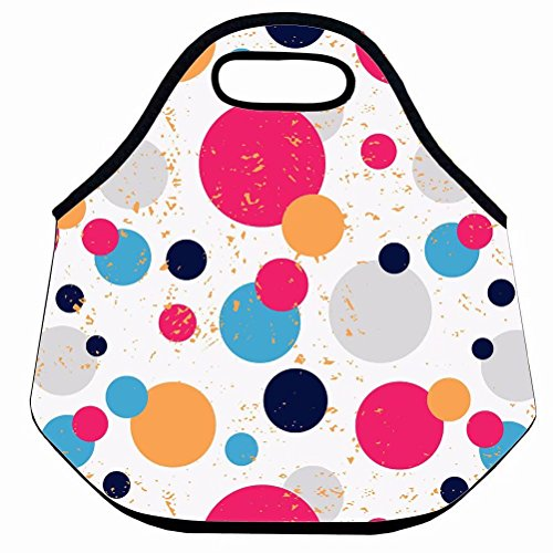 Neoprene Lunch Tote/Lunch Box Colorful Dots Mottled Background Pattern Lunch Bag