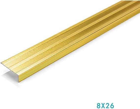 MELAG Perfil Angular de Escalera de Aluminio Antideslizante Perfil para Cantos Tira Antideslizante de peldaños de Aluminio Tira Antideslizante de peldaños de 7 Pasos Tira de Aluminio en Forma de L: Amazon.es: