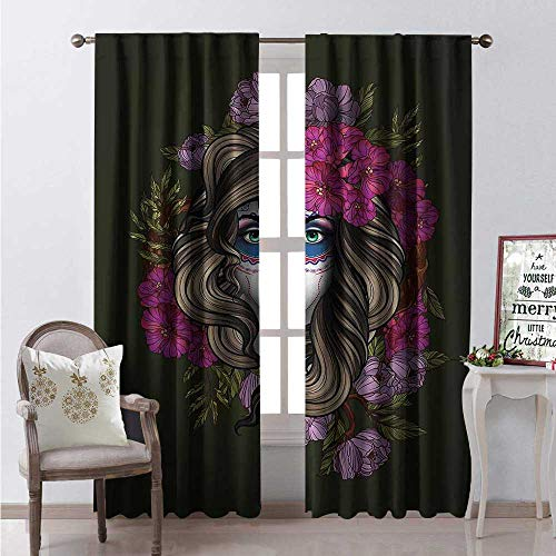 Hengshu Makeup Thermal Insulating Blackout Curtain Calavera Day of The Dead Mexican Sugar Skull Faced Woman Floral Head Halloween Blackout Draperies for Bedroom W72 x L108 Multicolor