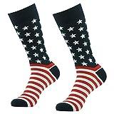 American Flag Socks, SUTTOS Men's Women's Colorful American Flag Patriot Dress Socks 2 Pairs Patriotic National Flag Socks American Flag Striped Stars Party Fun Socks Flag Day Socks Gifts