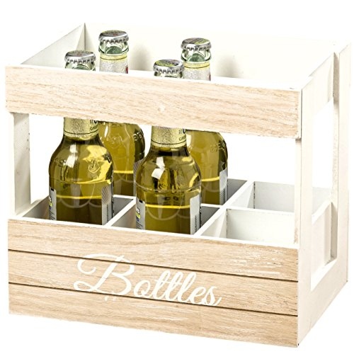 Whole House Worlds The Farmer's Market Bottle Holder, Caddy, for Beverages, Recycling, Flowers and More, Modern Milk Crate Style, White Stain, Distressed Shiplap Wood, 1 Ft 4 ½ In, by -