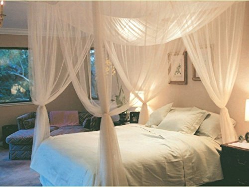 White 4 Corner Post Bed Canopy Mosquito Net Full Queen King Size Netting Bedding (Bunk Tent Universal Bed For)
