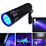 UV Handheld Flashlight, 395nm 9 LEDs Ultraviolet Blacklight - Glows in the Dark- for Camping Fishing Hiking Emergencies-Locates Invisible Pet Stains Quickly The Best Ultra Violet Flashlight to Find Stains on Carpet, Rugs or Furniture