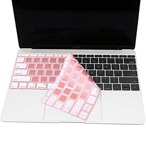 MOSISO Silicone Keyboard Cover Compatible MacBook Pro 13 Inch 2017 & 2016 Release A1708 Without Touch Bar, New MacBook 12 Inch A1534 Protective Skin, Hollow Rose Gold and White