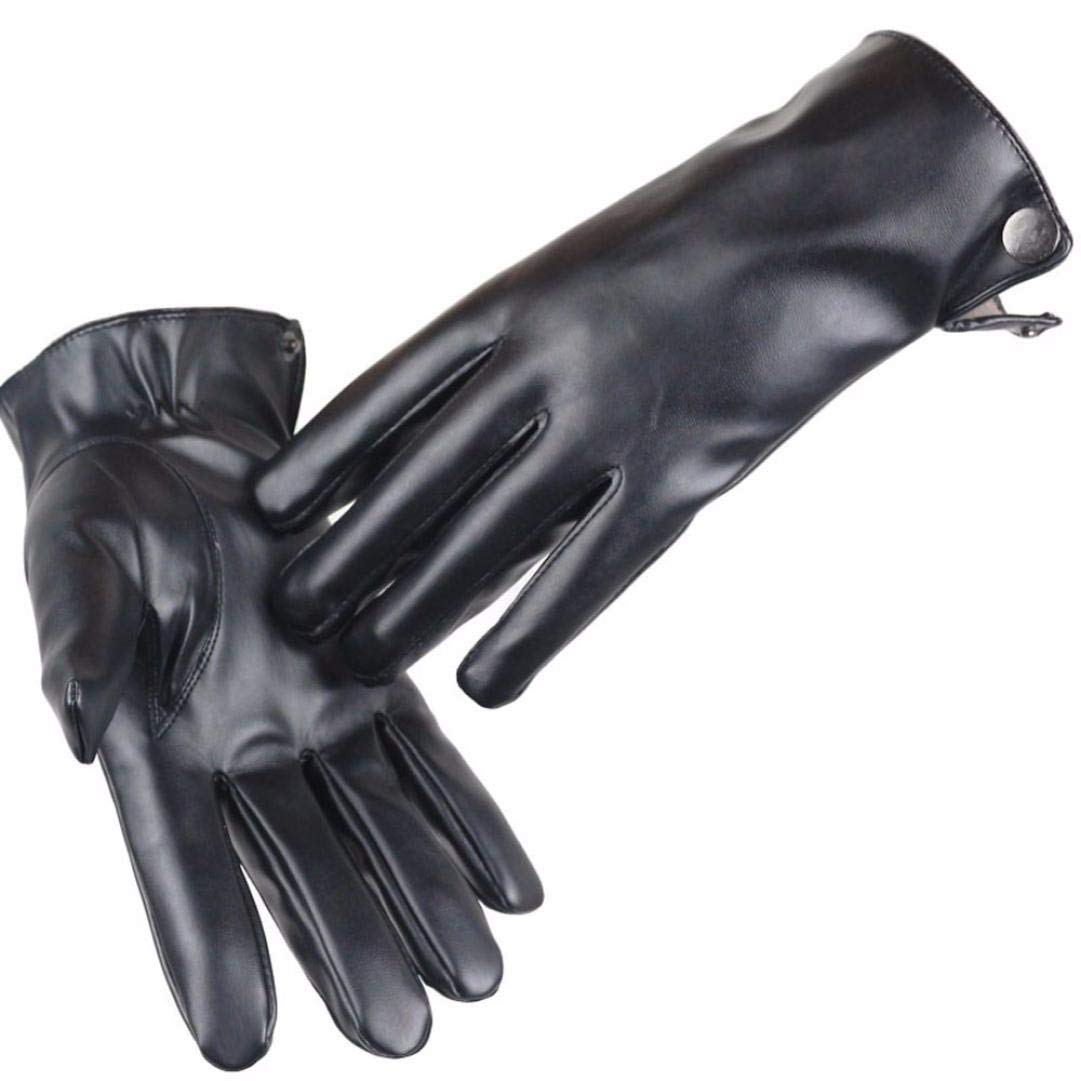 Fashion Men Soft Leather Gloves Winter Warm Driving Gloves Touchscreen Mittens Hanican (A)