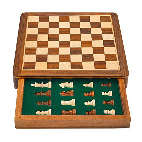 (Great Birthday Gift Ideas 10 Inch Classic Wooden Chess Set With Magnetic Chess Board Handcrafted Felted Interiors For Fitted Storage Of Staunton Chess Pieces Housewarming Gifts Men Women)