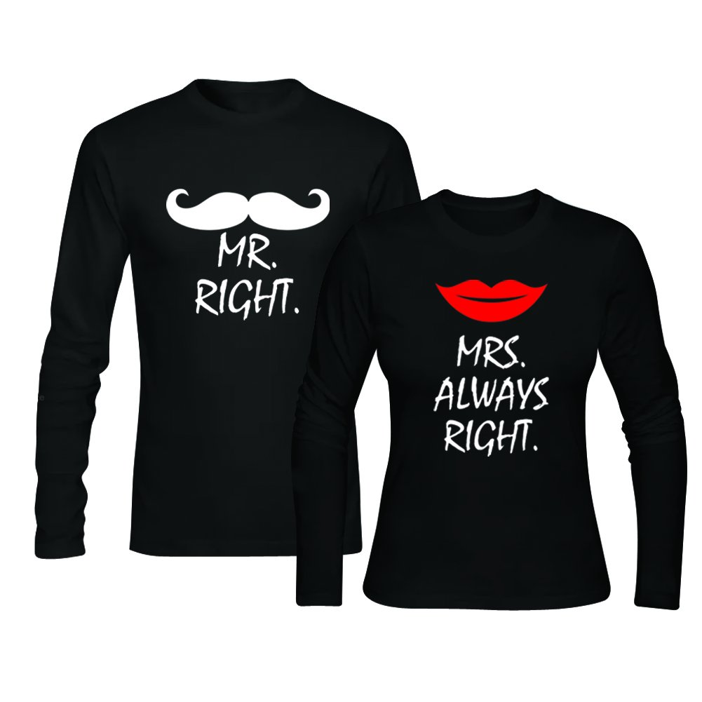 Amazon Mr Right Mrs Always Right Long Sleeve Black Funny