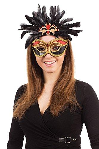 Carnival., colore: rosso/nero/oro, piume G/F (maschere), Unisex, taglia unica