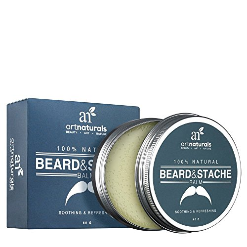 ArtNaturals Mustache and Beard Balm-Wax – 2 oz – Natural Oil Leave In Conditioner that Soothes Itching, Thickens, Strengthens, Softens, Tames and Styles Facial Hair Growth
