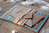 Turquoise Wedding Invitation, Destination Wedding Invitation, Rustic Wedding Invite, Burlap Wedding Invite, Modern Invitation - SAMPLE