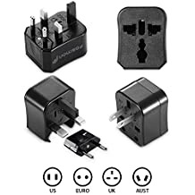 Fosmon Universal World Wide International Charger AC Travel Power Adapter Plugs (US, AU, EU, UK) - Black