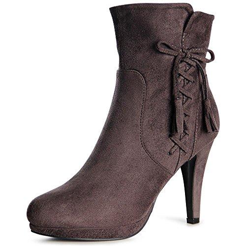 topschuhe24 1012 Damen Plateau Stiefeletten Ankle Boots Grau