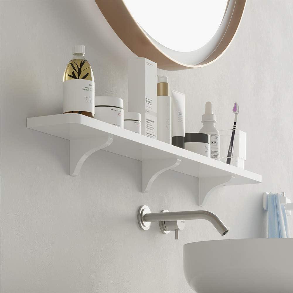 KUNGYO Weißer Kunststoff schwebendes wandregal - Absaugung Badezimmer Regal  Küche Wand Bücherregal Wandhalterung Dusche Caddy (Mitte)