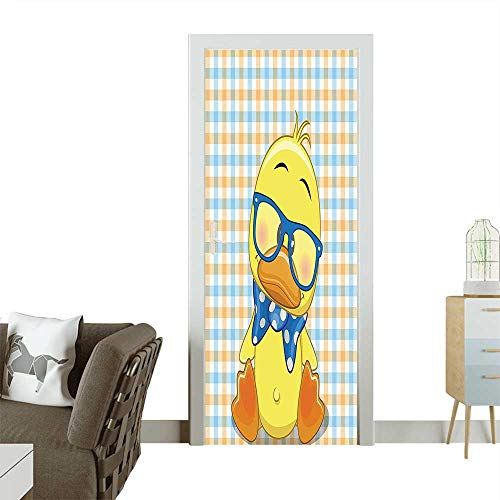 Art Door Stickers Hipster Boho Baby Duck with Dotted Bow Cool Free Spirit Smart Geese Artsy Door Decals for Home Room DecorationW17.1 x H78.7 -
