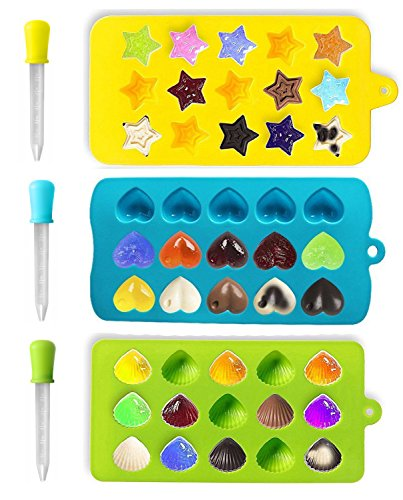 Joyoldelf Silicone Candy Molds & Non Stick Chocolate Baking Molds - DIY Ice Cube Trays Bonus 3 Droppers, FDA & BPA Free, Use for Cakes, Muffins, Soaps, Jello - Hearts, Stars & Shells
