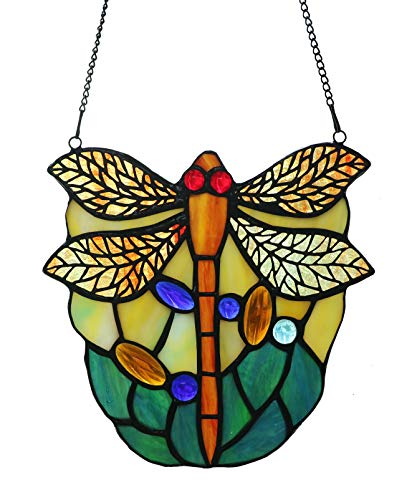Alivagar Stained Glass Dragonfly Tiffany Style Decor Ornament Sun Catcher, 6 1/2